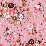 Inprint Folk - 4042 - Stylised Floral - Pale Pink - 8948 P30 - Cotton Fabric